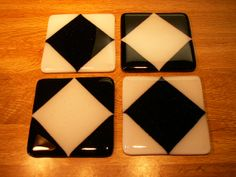 Black and white fused glass coasters