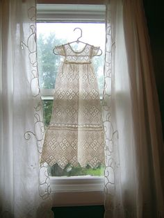 hand crochet baby dress ... Etsy My grandmother crocheted dresses like this one...not as long...and gave me one for my little girl...I had all boys...so I gave it to my sister when she had her little girl....njoyG