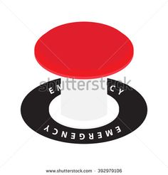 vector emergency red launch button on white - stock vector