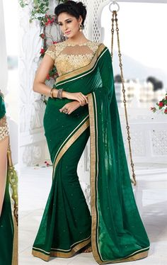 Picture of Gorgeous Green Color Art Silk Trendy Saree