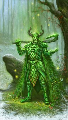 The Green Knight of Arthurian legend. 'Green Knight' by Des Hanley. Fantasy Warrior, Fantasy Rpg, Medieval Fantasy, Fantasy World, King Arthur Legend, Legend Of King, Herne The Hunter, Art Beauté, Roi Arthur