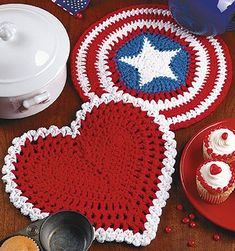 Stars and Stripes & Heart Hot Pad Patterns for Crochet ePattern | LeisureArts.com
