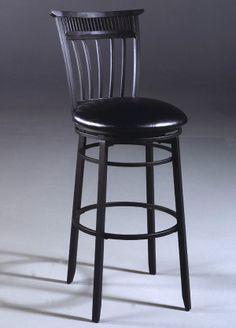 Hillsdale - Black Metal Swivel Bar/Counter Stool w Cushioned Seat