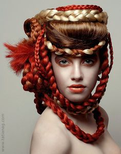 I admire the creativity photographer, Tatiana Grytsayeva has with every one of her images. I believe she started off her career as a teacher; she adds to the meaning of 'seeking one's passion'. Scarf Hairstyles, Unique Hairstyles, High Fashion Hair, Avant Garde Hair, Hair Reference, Fantasy Hair, Hair Shows, Crazy Hair, Free Hair