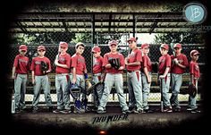 """""""Team Picture"""" ( NON-TRADITIONAL POSE )ARK-MO Thunder Baseball Sports Picture."""