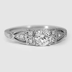 18K White Gold Rosabel Diamond Ring // Set with a 0.60 Carat, Round, Super Ideal Cut, E Color, SI1 Clarity Diamond