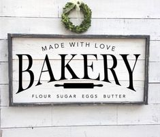Excited to share this item from my shop: bakery sign, framed shiplap sign Family Wood Signs, Farm Signs, Wooden Signs, Kitchen Signs, Kitchen Art, Kitchen Humor, Kitchen Stuff, Country Kitchen, Home Decor Signs