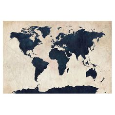 Add an eye-catching touch to the study or den with this stylish canvas print, showcasing a high-contrast world map design.    Produ...