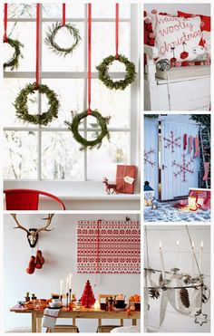 scandinavian christmas LOVE THE WREATHS HANGING IN THE WINDOWS AND THE SIMPLICITY OF THE DECOR!!