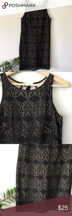 """Ann Taylor Loft Black Crochet Lace Shift Dress Condition: Pre-owned, gently used. Cute keyhole tie back.   Approximate measurements (laying flat) are as follows:   - armpit to armpit: 16.5""""  - length: 35""""  Check out my other items!  F12 LOFT Dresses"""