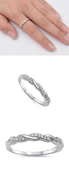 Infinity Braid Clear CZ Promise Ring New .925 Sterling Silver Band Size 10 (RNG14326-10)