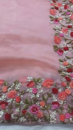 Zardozi Embroidery, Bead Embroidery Patterns, Hand Embroidery Flowers, Embroidery On Clothes, Hand Work Embroidery, Embroidery Suits Design, Creative Embroidery, Embroidery Fashion, Hand Embroidery Designs