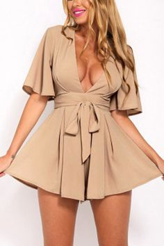 Sexy Short Sleeve V-Neck Strappy Romper Jumpsuit Cute Dresses, Casual Dresses, Casual Outfits, Fashion Dresses, Cute Outfits, Summer Dresses, Rompers Women, Jumpsuits For Women, Look Blazer