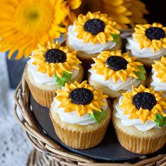 These cheerful sunflower cupcakes just make me smile! Especially because the cupcakes are lemon flavor – yum. The homemade cupcakes are simply but beautifully decorated using royal icing and mini Oreo cookies. (Using mini Oreos instead of full size is a great idea, since a ...
