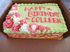 Floral pastel arrangement  Birthday cake green  pink - Erin Miller Cakes - https://www.facebook.com/erinmillercakes
