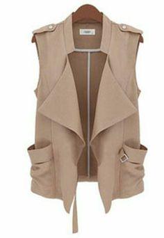 Shop Sleeveless Khaki Vest Coat at ROMWE, discover more fashion styles online. Look Fashion, Hijab Fashion, Autumn Fashion, Fashion Dresses, Street Fashion, Chaleco Casual, Khaki Vest, Vest Coat, Vest Jacket