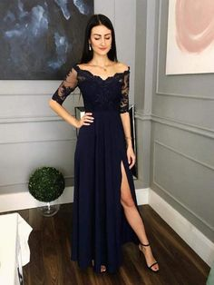 edf83b9adf Half Sleeves Side Slit A Line Navy Lace Prom Party Dresses DPB3104