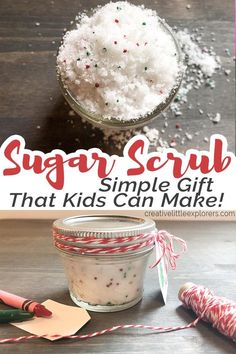 Simple Sugar Scrub for a DIY Christmas Gift Kids Can Make - This makes a great last-minute gift since it's quick and easy to make with a few ingredients you make already have around the house! Perfect teacher gift too! - Creative Little Explorers Diy Christmas Gifts For Kids, Diy Gifts For Kids, Homemade Christmas Gifts, Easy Gifts, Diy For Kids, Christmas Christmas, Christmas Presents, Preschool Teacher Christmas Gifts Diy, Teacher Gift Diy