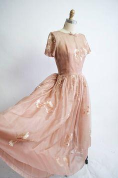~gorgeous vintage 1950s chiffon party dress~