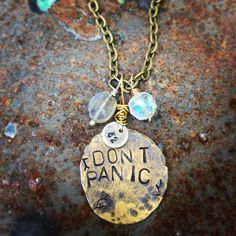 Don't Panic Galaxy Charm Necklace  by ScrapandSmith on Etsy, $35.00