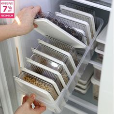 living【SENSEMOM Clean Refrigerator Premium A】Freezer Food Storage/Tray+Subdivision Container Large - Refrigerator Storage : Kitchen / - Refrigerator Storage : Kitchen / Dining Kitchen Soffit, Kitchen Pantry, New Kitchen, Kitchen Dining, Kitchen Decor, Kitchen Walls, Kitchen Remodelling, Kitchen Ideas, Kitchen Inspiration