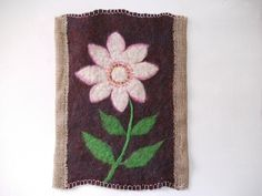 White Flower Handfelted Wool Wall Hanging by BrightHappyFelt