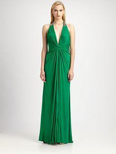 Aidan Mattox - Jeweled Jersey Halter Gown - Saks.com