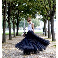 tulle maxi skirt-streetstyle
