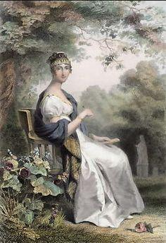 Queen Hortensia. Original steel engraving, engraved by Goutière after K. Girardet. 1837.Frankreich. Stahlstich von Goutière nach K. Girardet. 1837 hortensia.