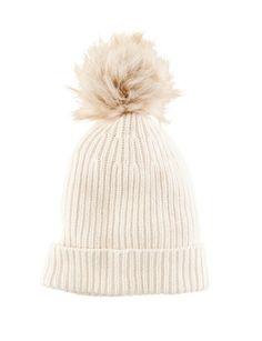 White Rib Knit Pom Beanie