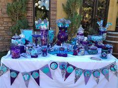peacock themed candy buffet | Oak Meadows, Temecula Ca : Purple/teal Peacock theme candy buffet