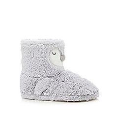 baa55ac96f9db9 Grey faux fur slipper boots Slipper Boots