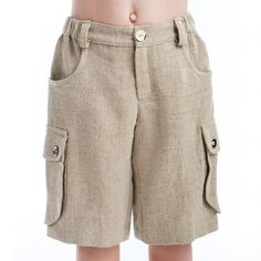 Boys Natural Linen Shorts with Pockets