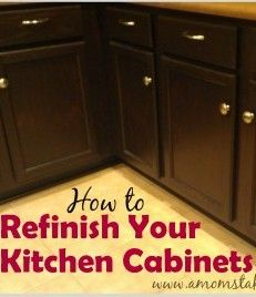 See how to refinish kitchen cabinets in your home to update their look. Easy DIY walkthrough shows you what to do with before and after pictures.