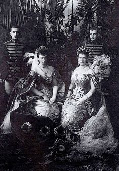 Grand Duchess Anastasia Mikhailovna, with her future husband's aunt, the magnificent Grand Duchess Vladimir (the one with the tiara now worn by the Queen) as she and Anastasia's mother, Cecilie,  brokered her marriage.