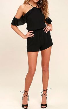 Palpitate Black Off The Shoulder Romper via @bestchicfashion