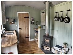 Shepard hut in darowen wales leaving area kitchen house conversion house ideas house interior house interior floor plans house interior small house plans Shed To Tiny House, Tiny House Cabin, Tiny House Living, Airstream Interior, Vintage Airstream, Vintage Campers, Style Cottage, Hut House, Cabana