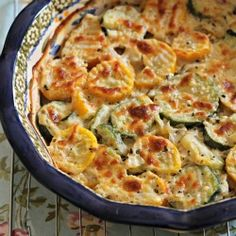 Zucchini and Squash Au Gratin. This is what I'm doing with extra squash. *** This recipe was great! Worked well with thicker slices of squash.