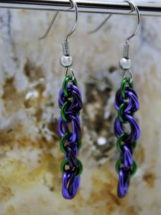 Lavender and Purple Rosette Enameled Copper Chainmaille Earrings