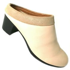 HOPP Collared Mule Slip On Clog Sandal Chunky Mid Heel Ivory Cream Blush 7.5 #Hopp #Mule #Casual Leather Mules, Leather Slip Ons, Smooth Leather, Brown Leather, Wooden Clogs, Clog Sandals, Cream Blush, Brown Wedges, Heeled Mules