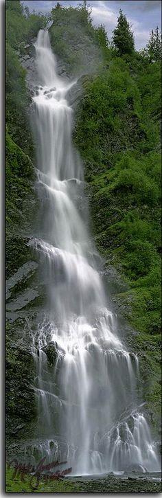 This is Bridal Veil Falls along the Richardson Highway near Valdez, Alaska, USA. photographer: Mike Jones