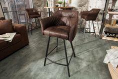 Barová stolička LOFT VINTAGE BROWN Dining Room Table Decor, Dining Room Design, Living Room Decor, Sofa Design, Bar Chairs, Bar Stools, Industrial Interior Design, Loft Interiors, Chaise Bar
