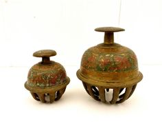 Antique - Vintage Set of (2) India Brass Claw Bells