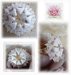 ' Schema ring ' Lotus ' by Pucashop on Etsy Bead Jewellery, Beaded Jewelry, Handmade Jewelry, Jewelery, Seed Bead Patterns, Beading Patterns, Beaded Rings, Beading Tutorials, Bead Weaving