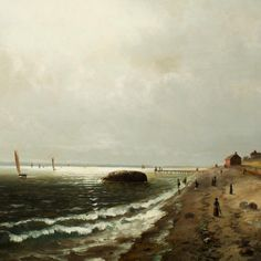 Elbridge Wesley Webber - A Day at the Beach, Oak Bluffs, Martha's Vineyard, n. offered by Brock & Co. on InCollect Hudson River School Paintings, Martin Johnson Heade, Peabody Museum, Boston Art, Oak Bluffs, Living In Boston, Most Famous Paintings, New York Public Library