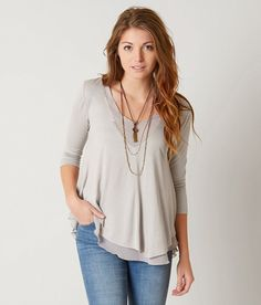 red by BKE Modal Knit Top - Women's Shirts/Blouses in Opal Grey | Buckle