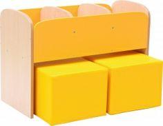 100723 Lage boekenkast voor kinderen in de kleur Geel