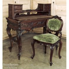 Antique Italian Baroque Walnut Desk, www.inessa.com