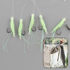 Hot 1Pack Sabiki 5 Shrimp Rigs Glitter Glow in the dark Fish Fishing Bait Baits Lure Catch Size16 Hook Hot Sale