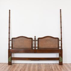 """This """"Henredon"""" king sized headboard is featured in a solid wood with a glossy mahogany finish. This Asian style headboard is in great condition with carved faux bamboo and caning panels. Regal tropical inspired bed fit for a king!   #asian #beds #headboard #sandiegovintage #vintagefurniture"""
